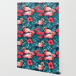 Flamingo birds and tropical garden        watercolor in blue and red Wallpaper