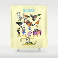 ducks Shower Curtains featuring Ducks by Natelle Draws Stuff