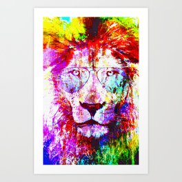lion paint art Art Print