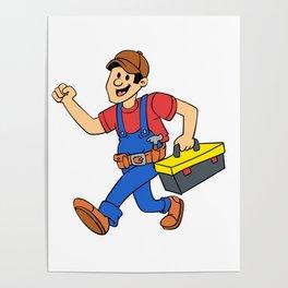 Happy running handyman cartoon illustration Poster