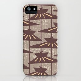 Mid Century Modern Pendant Lamp Composition Beige and Brown iPhone Case