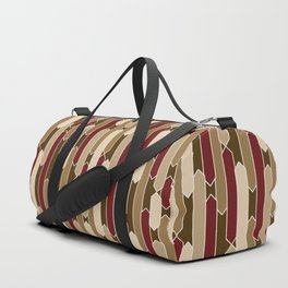 Modern Tabs in Brown, Burgundy and Tan Duffle Bag