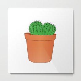 Hand drawn green cactus in the pot Metal Print