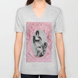 Femme Fatale - Pin Up - Pastel Pink Frame - Roses  Unisex V-Neck