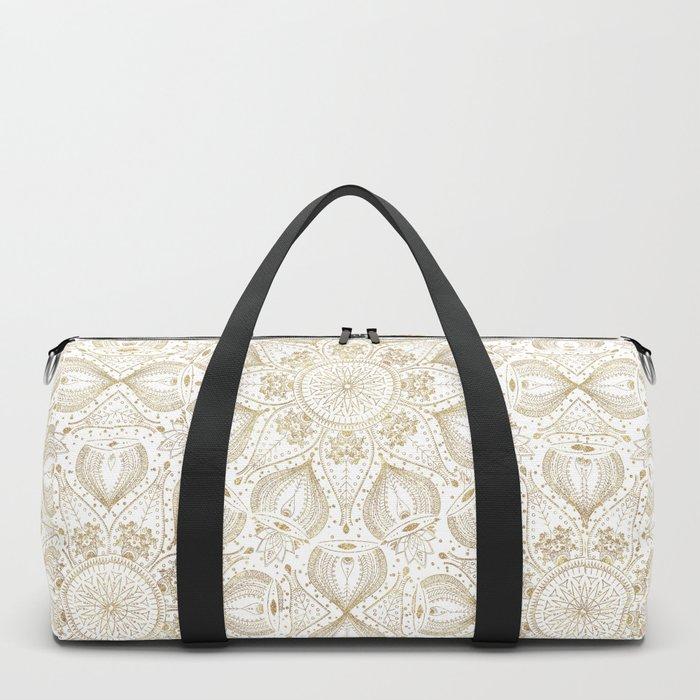Boho Chic gold mandala design Duffle Bag