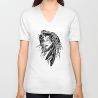 native american V-neck T-shirts featuring Native American by JonathanStephenHarris