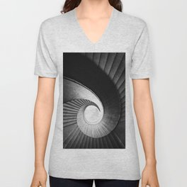 Spirals  in black and while Unisex V-Neck