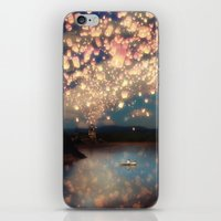 pixel iPhone & iPod Skins featuring Love Wish Lanterns by Paula Belle Flores
