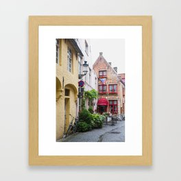 Bike with brick buildings, Bruges Framed Art Print
