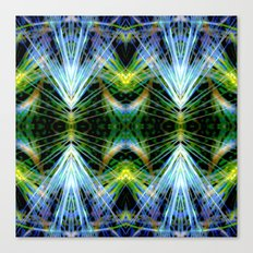 Blue Green Bright Rays,Fractal Art Canvas Print