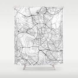 Dusseldorf Map White Shower Curtain