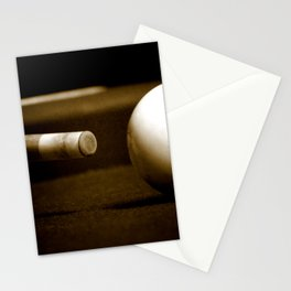 Pool Table-Sepia Stationery Cards