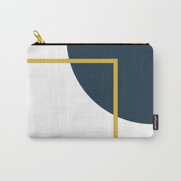 Fusion Minimalist Geometric Abstract in Mustard Yellow, Navy Blue, and White Carry-All Pouch