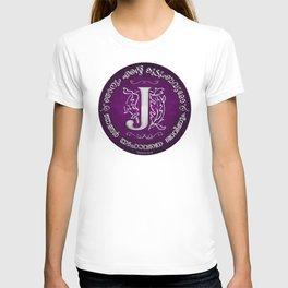 Joshua 24:15 - (Silver on Magenta) Monogram J T-shirt