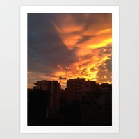 Sunset in Barcelona Art Print
