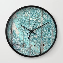 Teal & Aqua Botanical Doodle on Weathered Wood Wall Clock