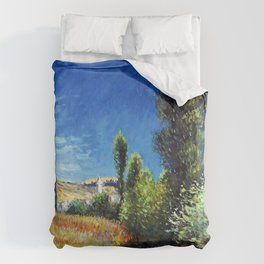 Red Poppies and Landscape on the Ile Saint-Martin by Claude Monet Duvet Cover