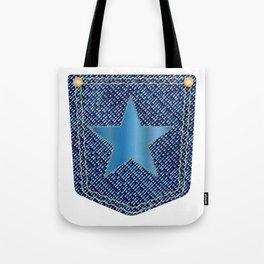 Star Denim Pocket Tote Bag