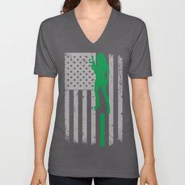 Girl Love Guns American Flag Unisex V-Neck
