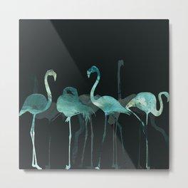 Watercolor Winter Flamingos in Dark collab. with @rodrigomffonseca Metal Print