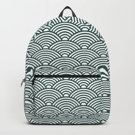 Japanese Waves (Dark Green & White Pattern) Backpack