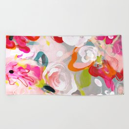 Dream flowers in pink rose floral abstract art Beach Towel