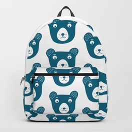 Cute dark blue bear illustration Backpack