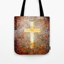 Gold Cross on Rusted Metal Plate Tote Bag
