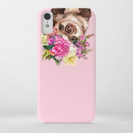 Flower Crown Baby Sloth in Pink iPhone Case