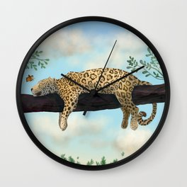 Sleepy Jaguar Hanging on a Branch Wall Clock