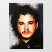 john snow Canvas Prints featuring Kit Harrington aka John Snow by André Joseph Martin