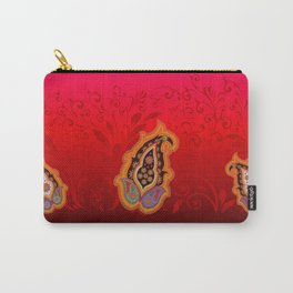 red jewel paisley border Carry-All Pouch