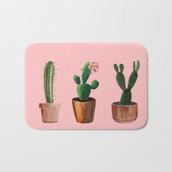 Three Cacti On Pink Background Bath Mat