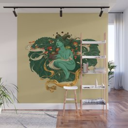 Green Witch with Frogs and Mushrooms Wall Mural