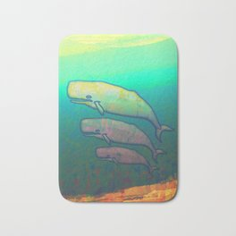 Whales Swimming Together Bath Mat