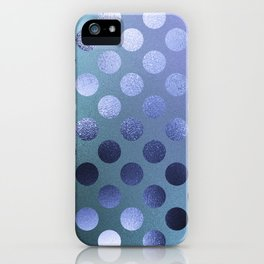 Minimalist Circle Pattern in Iridescent Blue 25 iPhone Case