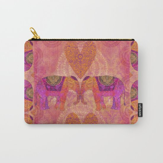 Elephants in Love heart illustration Carry-All Pouch