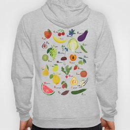 English fruit and vegetables alphabet on dark Hoody