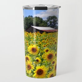 Sunflowers with Barn in Distance Travel Mug