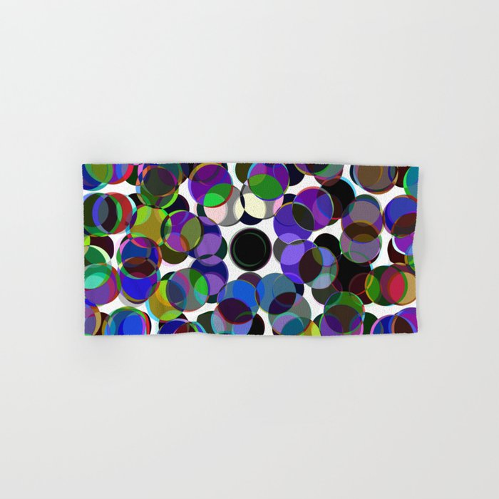 Cluttered Circles III - Abstract, Geometric, Pastel Coloured, Circle Patterned Artwork Hand & Bath Towel