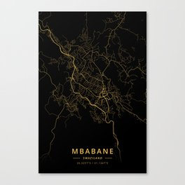 Mbabane, Swaziland - Gold Canvas Print