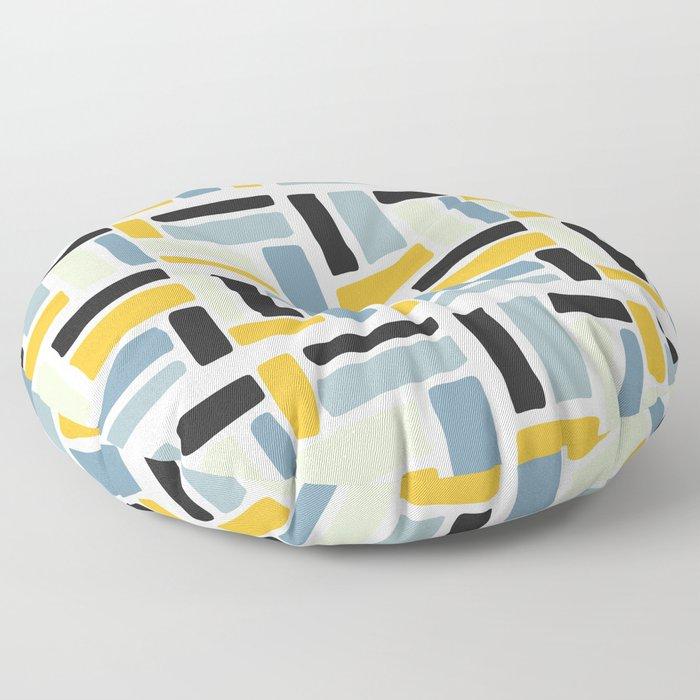 Abstract yellow black geometric modern brushstrokes  pattern Floor Pillow