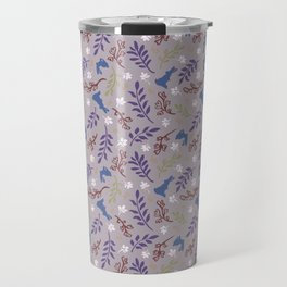 Ditsy Bunnies Amok - Blue Bunnies, Gray Background Travel Mug
