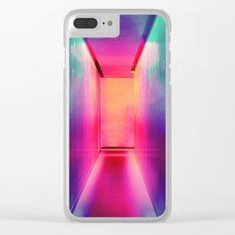 Neon Hallways Clear iPhone Case