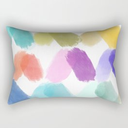 Watercolor brush texture pattern in white Rectangular Pillow