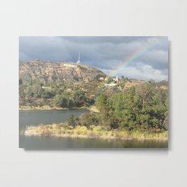 Rainbow over Reservoir Metal Print