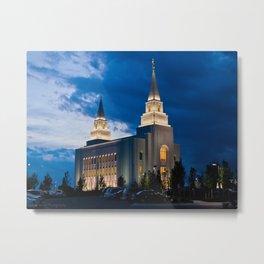 Kansas City, Missouri Temple at Night Metal Print