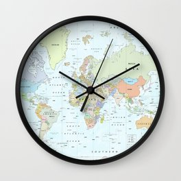 World Atlas & Bathymetry Map [color version] Wall Clock