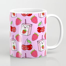Cute funny sweet boxes of yummy flavored milk, little cherries and red ripe summer strawberries cartoon fantasy pastel pink pattern design Coffee Mug