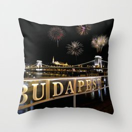 Chain bridge  with fireworks on Budapest city. Throw Pillow